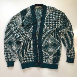 Vintage Mens Green Knit Cardigan Graphic Sweater
